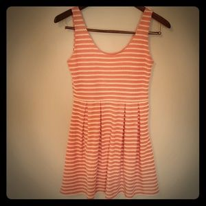 Pink Dress with white tulip shaped stripes